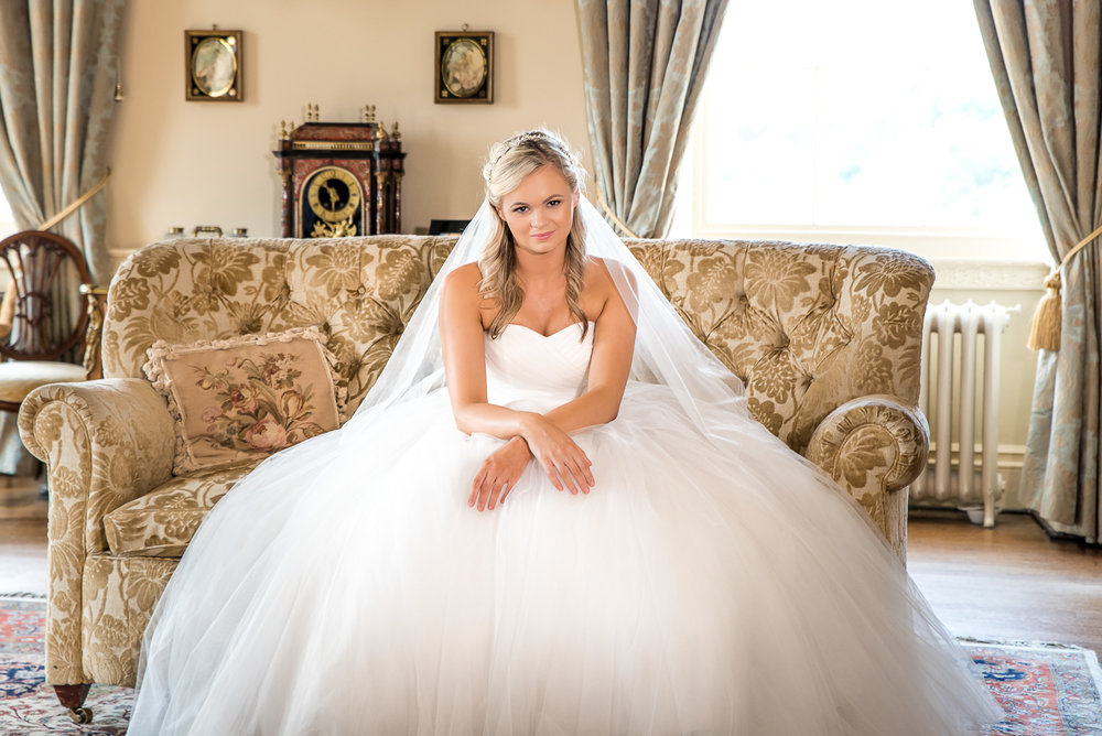 relaxed bride alone by northumberland wedding photography