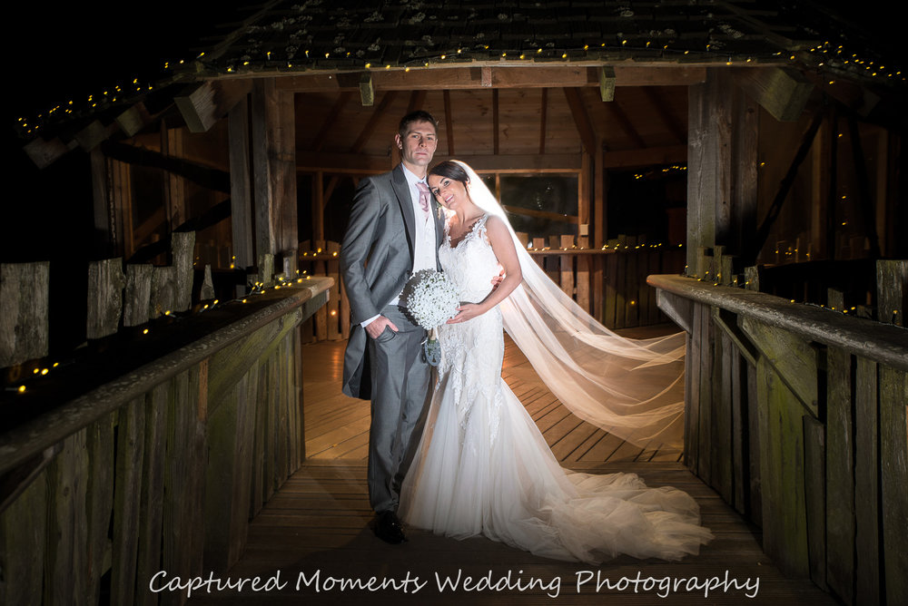 Bride and Groom at Alnwick Tree House, Northumberland.