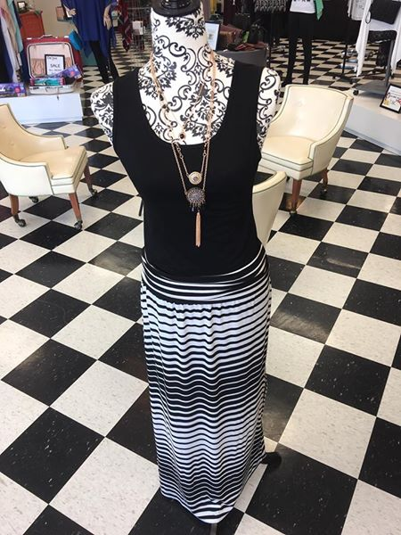 Coco + Carmen maxi skirt - Super cute but comfortable maxi skirt! We have a variety of colors shown below. We have grey, turquoise, and black!Also pictured is a black tank for only $11!Also, our super cute layered necklace pictured is only $11!$39