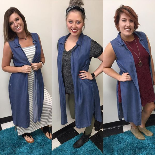 Bluefaith Sleeveless Denim Duster - Sleeveless denim duster that goes with EVERYTHING! Shorts, pants, skirts, dresses long and short.$48