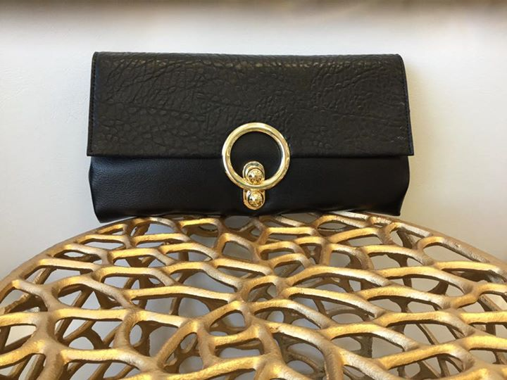 Sondra Roberts black clutch - Designer clutch. Vegan leather. Attachable adjustable strap.$89