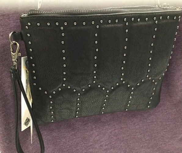 Sondra Roberts Designer handbag - Black studded leather Sondra Roberts square purse. Long Chain strap and wristlet attachments. Cute animal print liner.$36