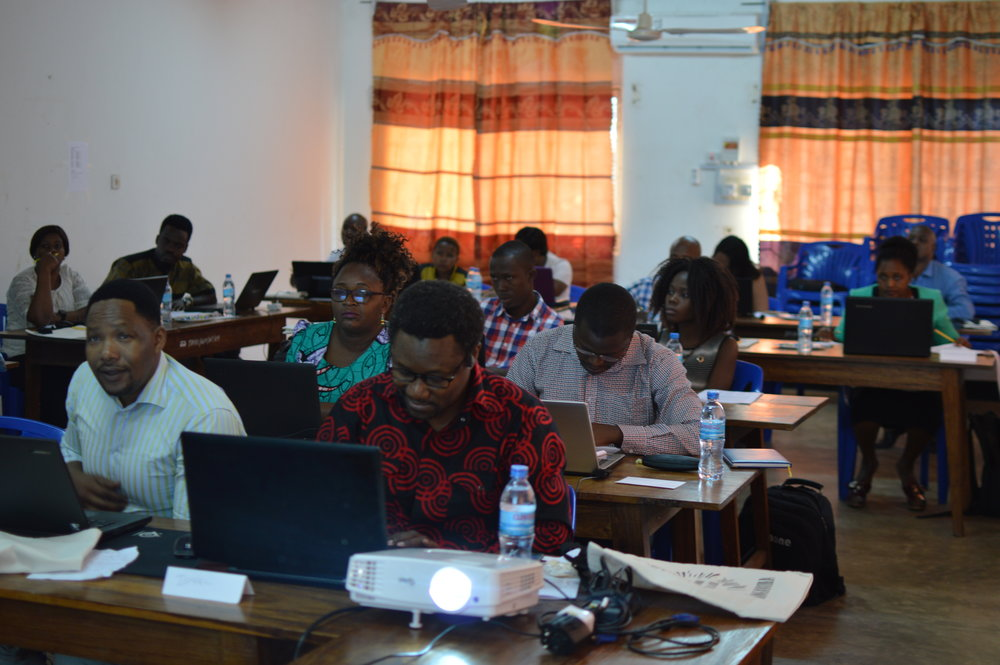 Participants hard at work learning R.