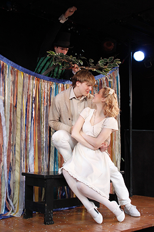 Drew Seigla, Andrew Polec, and Madison Claire Parks in  The Fantasticks .