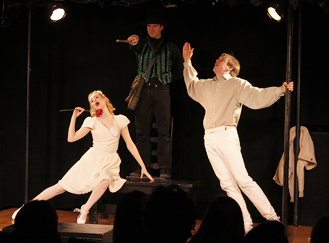 Madison Claire Parks, Drew Seigla, and Andrew Polec in  The Fantasticks .