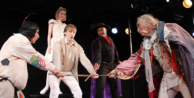 Michael Nostrand, Madison Claire Parks, Andrew Polec, Shavey Brown, and MacIntyre Dixon in  The Fantasticks .
