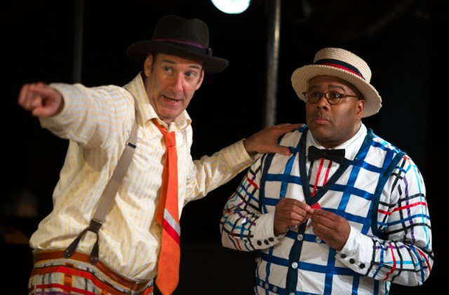 Dan Sharkey as Hucklebee and Kevin R. Free as Bellomy in  The Fantasticks .