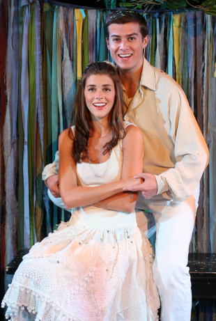 Margaret Anne Florence as Luisa and Nick Spangler as Matt in  The Fantasticks .