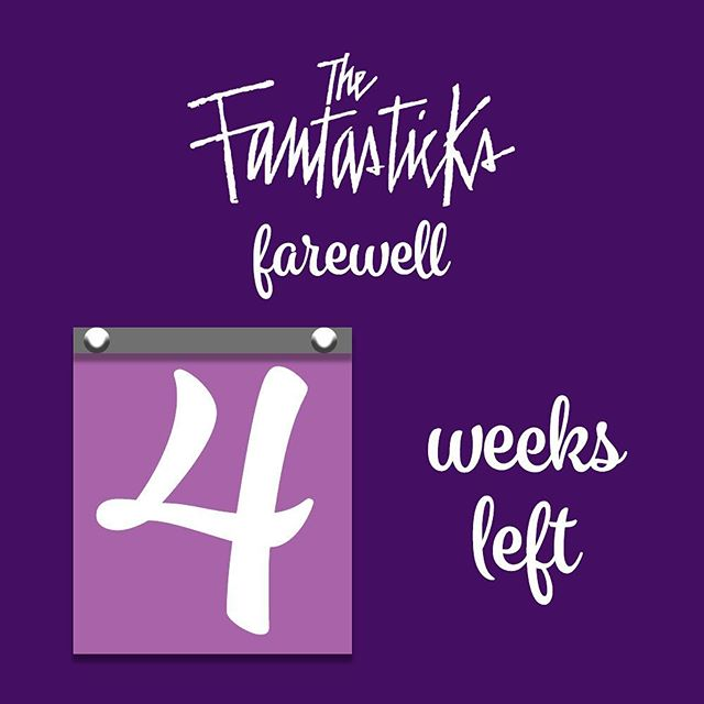 Just four more Mondays left in our run. Don't miss your chance to see @thefantasticks before it closes June 4!