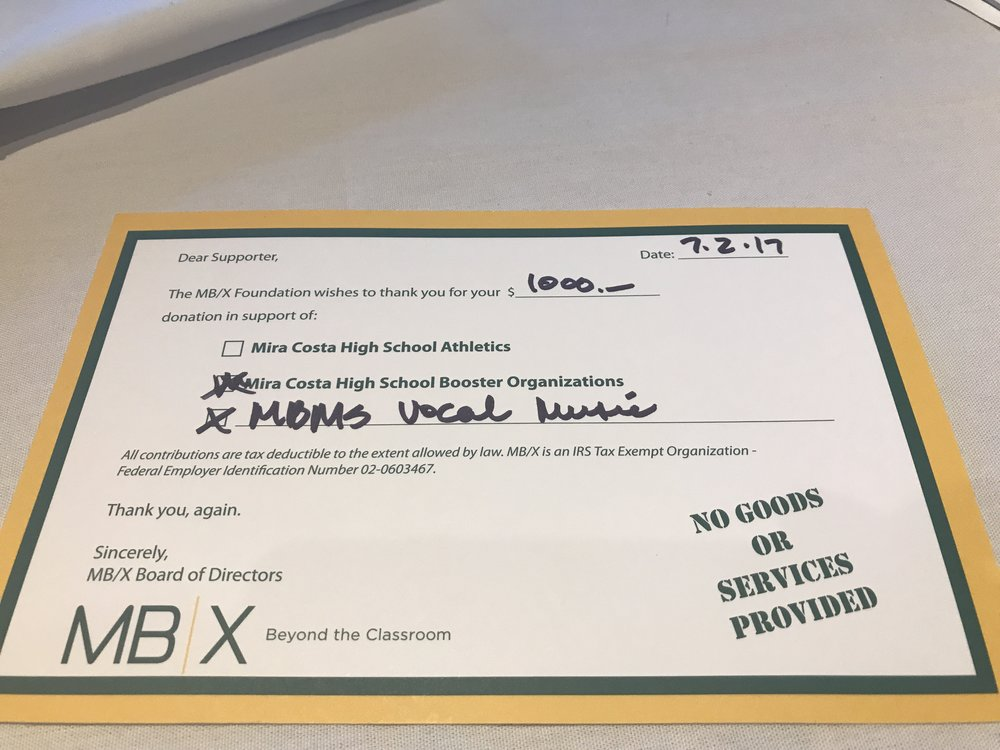 A thank you from the MBX foundation for Kiwanis's $1,000 donation