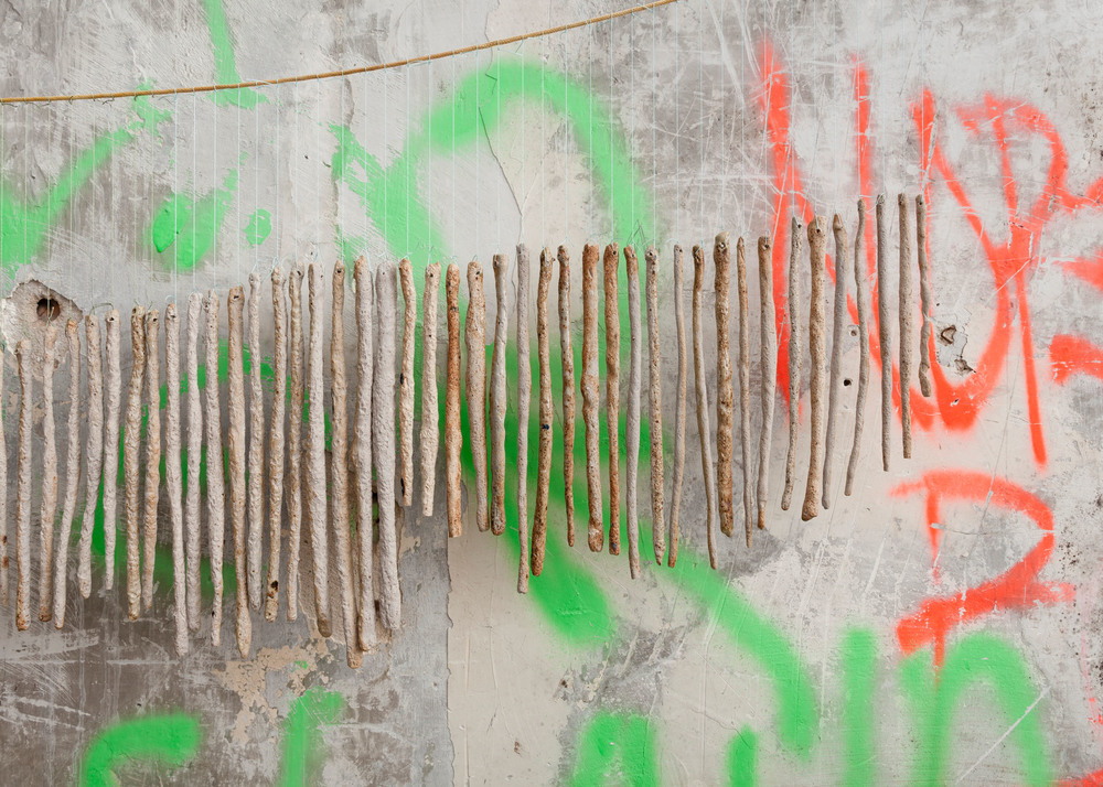 I memorized it I loved it so much    Cotton rope dyed in onion peels and turmeric, bronze, porcelain and stoneware rolled in sediment and debris from the ground (sites include   a bathroom floor, West 4th Street, Gowanus Canal, the floor of an apartment, Greenpoint)