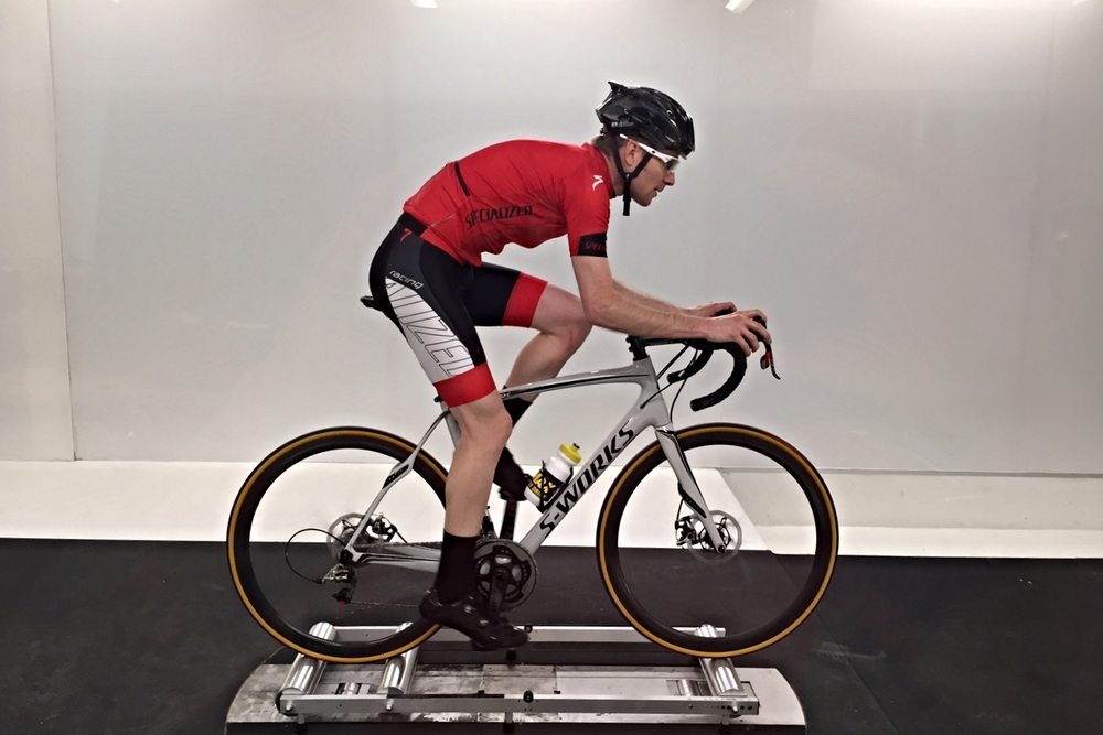 J. Hibbard in wind tunnel on rollers/ Cycling science