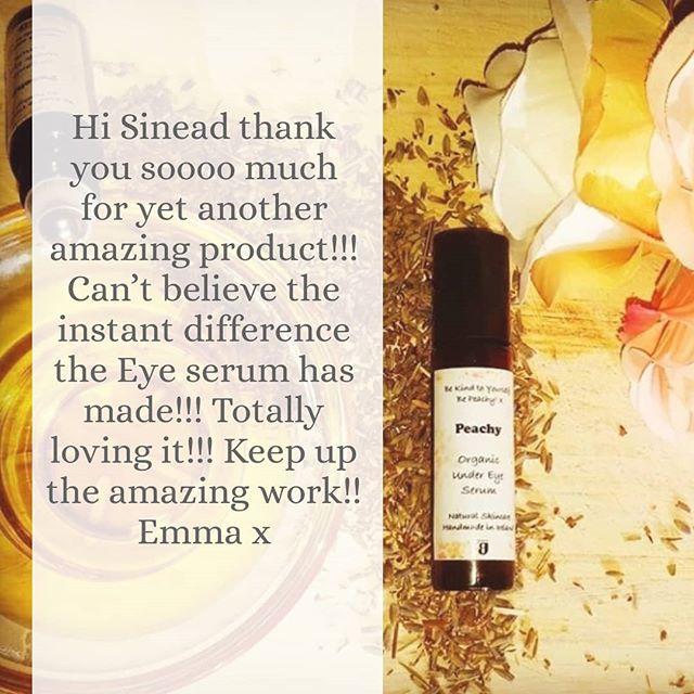 Some lovely feedback so far for the new Peachy organic under eye serum 🤗❤ #irishnaturalskincare #organic #peachy