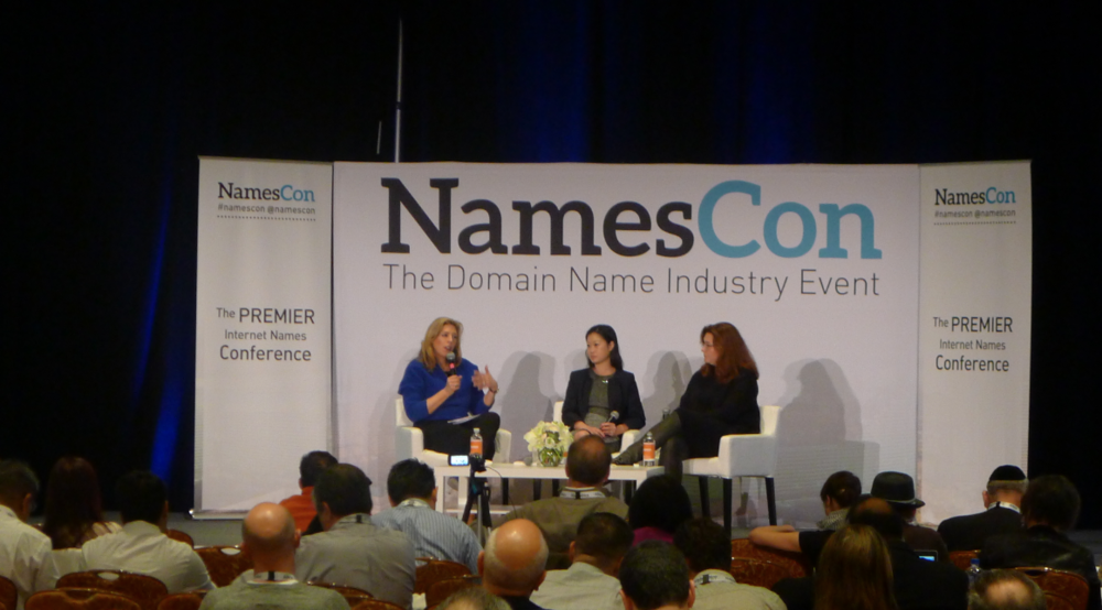 (l-r) Jennifer Wolfe, Cecelia Smith, and Stacey King: Top Brands and their TLD Strategy at NamesCon 2016
