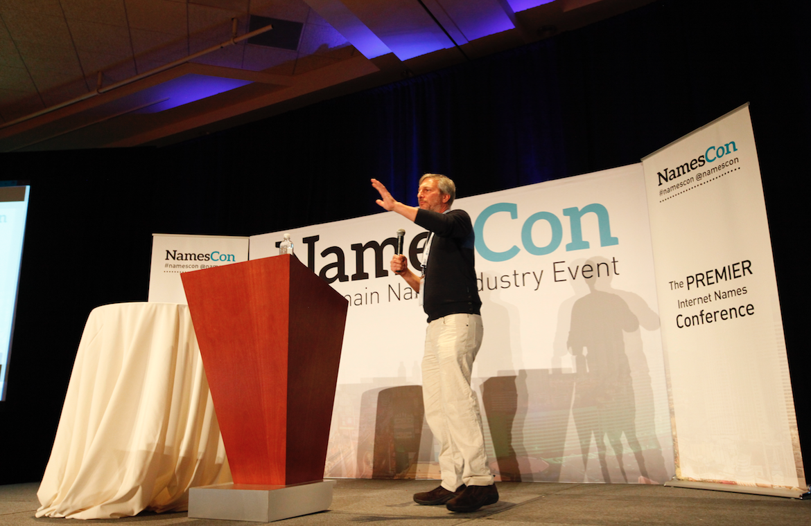 Elliot Noss delivers a keynote speech at NamesCon 2016