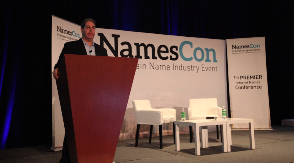 Marc Trachtenberg delivers a keynote address at NamesCon 2016