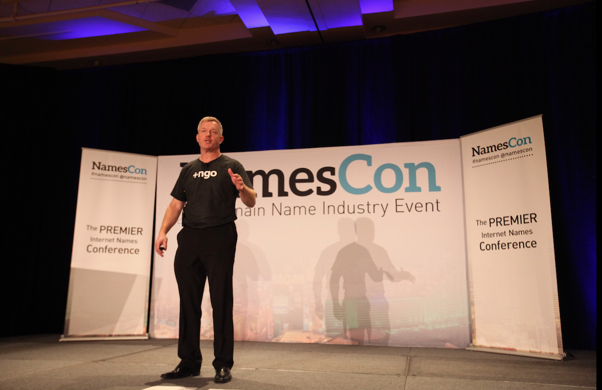 Brian Cute, CEO of Public Interest Registry, delivers his keynote at NamesCon 2016