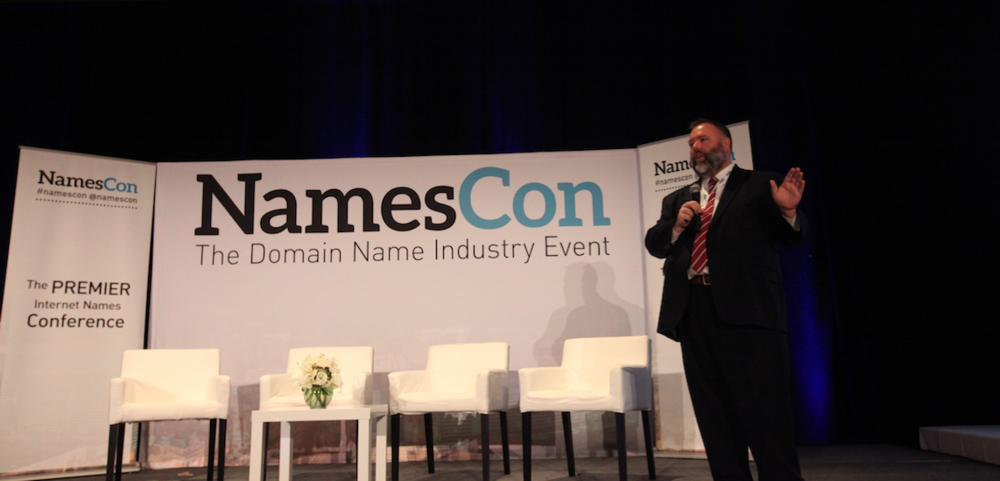 Paul McGrady delivers a keynote speech at NamesCon 2016