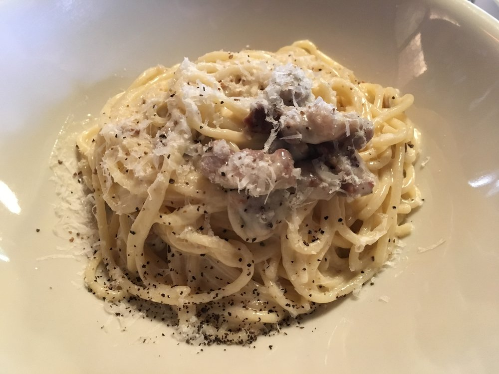 Spaghetti carbonara with lamb pancetta (and lots of freshly ground black pepper)