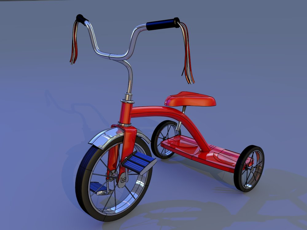 Nurbs Tricycle  Model made with new NURBS surfaces in LWCAD 5.  Used for LWCAD 5 manual cover.