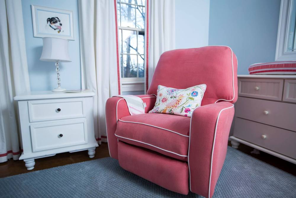Because so many of the large furniture pieces had already been purchased, we were able to focus her budget on new bedding, window treatments, and reupholstering her rocking chair.