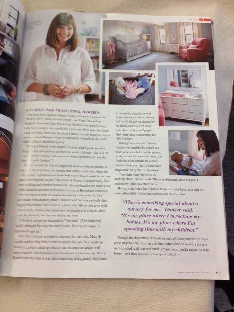 "Danner's nursery was featured in the Jan/Feb '15 edition of Lynchburg Living Magazine - ""A Classic and Traditional Nursery""."