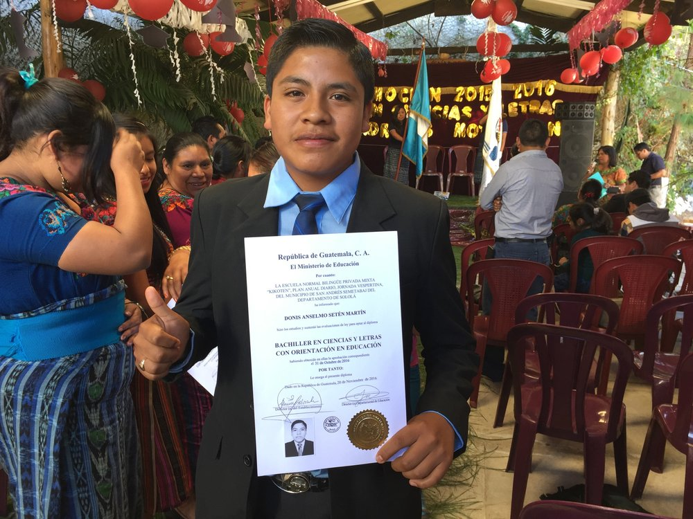"Donis graduated in Fall 2016, and is attending university in San Lucas Toliman, studying to be an English and Spanish teacher.  In 2011, he was about to drop out of school due to lack of funds, and would have been a farmer. His nickname is ""Dictionary Donis"" for his exceptional memorizing ability."