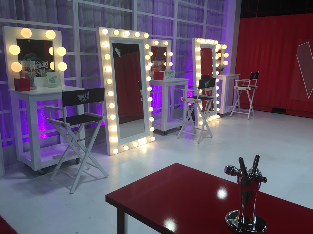 The glam set where kids got ready for stage.