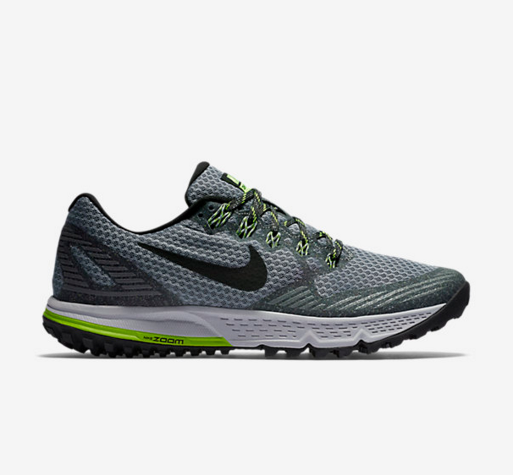 NIKE AIR ZOOM   Perfect shoe for trail running / walking. The rubber outsole provides great traction, and has responsive cushioning in the heel.