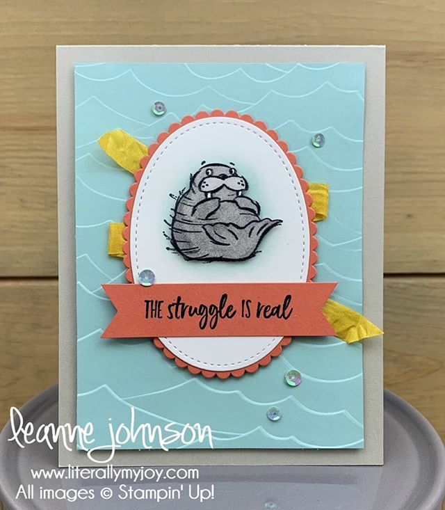 When and idea pops into your head you go with it! I can't stop laughing. This walrus is finishing up his set of sit-ups. . . #literallymyjoy #stampinup #papercrafting #artfullyaware #wellwalrusbefriends #hilarious #thestruugleisreal #truth #sttc #stampinthroughthecatalog #linkinprofile