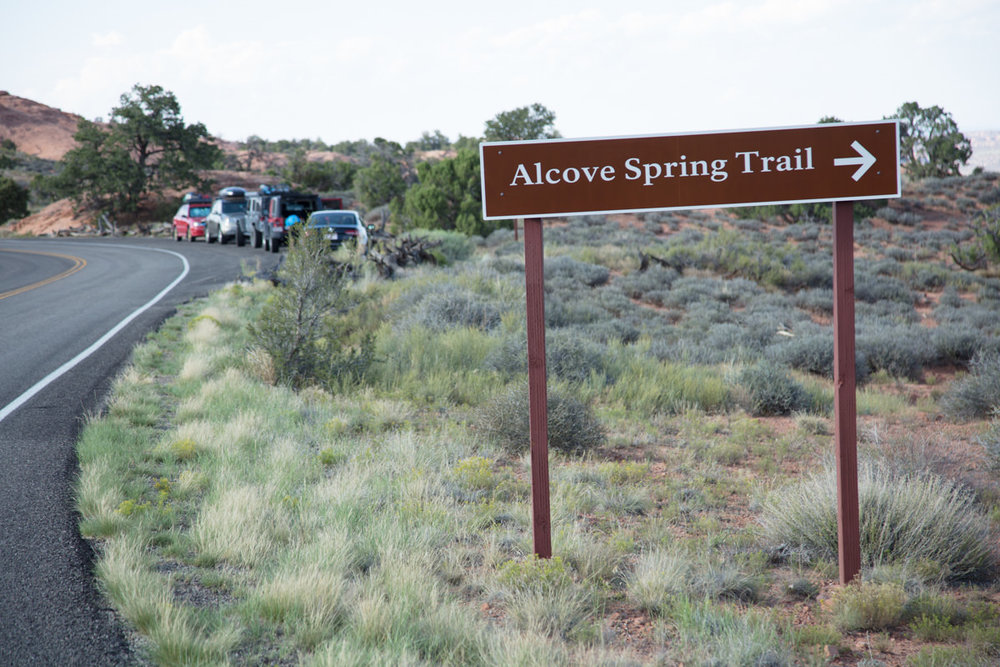 Parking area just past sign