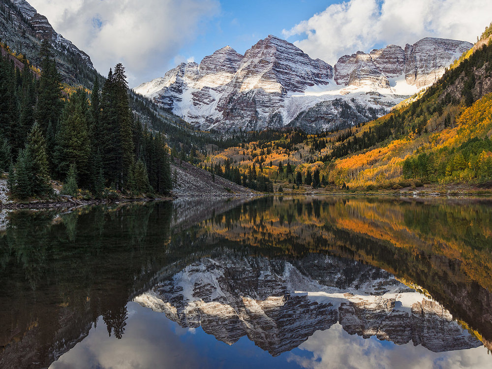"""Maroon Bells - Maroon Bells - this was the first place I ever visited that I said """"WOW, how did this happen?"""" Perhaps the most photographed place in Colorado, the Maroon Bells is the ultimate spot—the holy grail for landscape photographers—where you can get that """"hang it on the wall"""" picture of your dreams."""