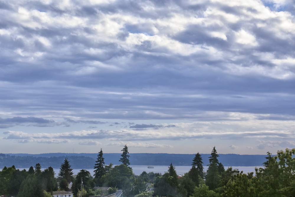 The view from our living room window - you can see the ferries go back and forth to Vashon Island! Photo by Levi Clark