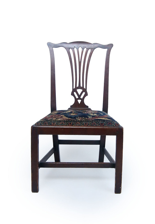 Pair Of Chippendale Chairs With Oushak Upholstery Klismos Gallery