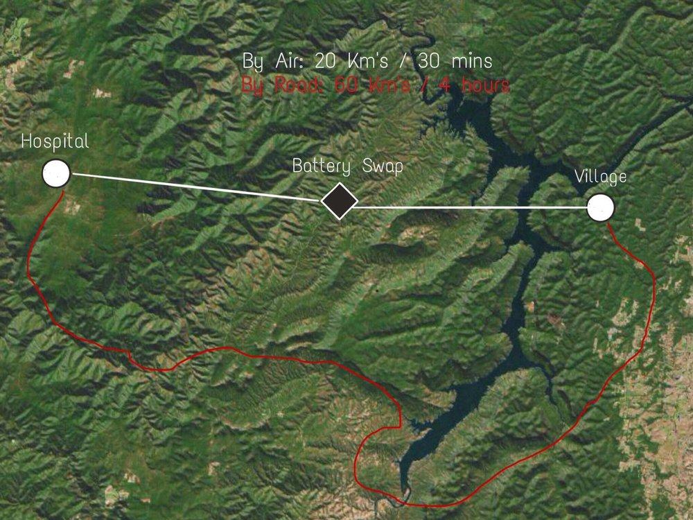 A hypothetical rural drone delivery scenario.
