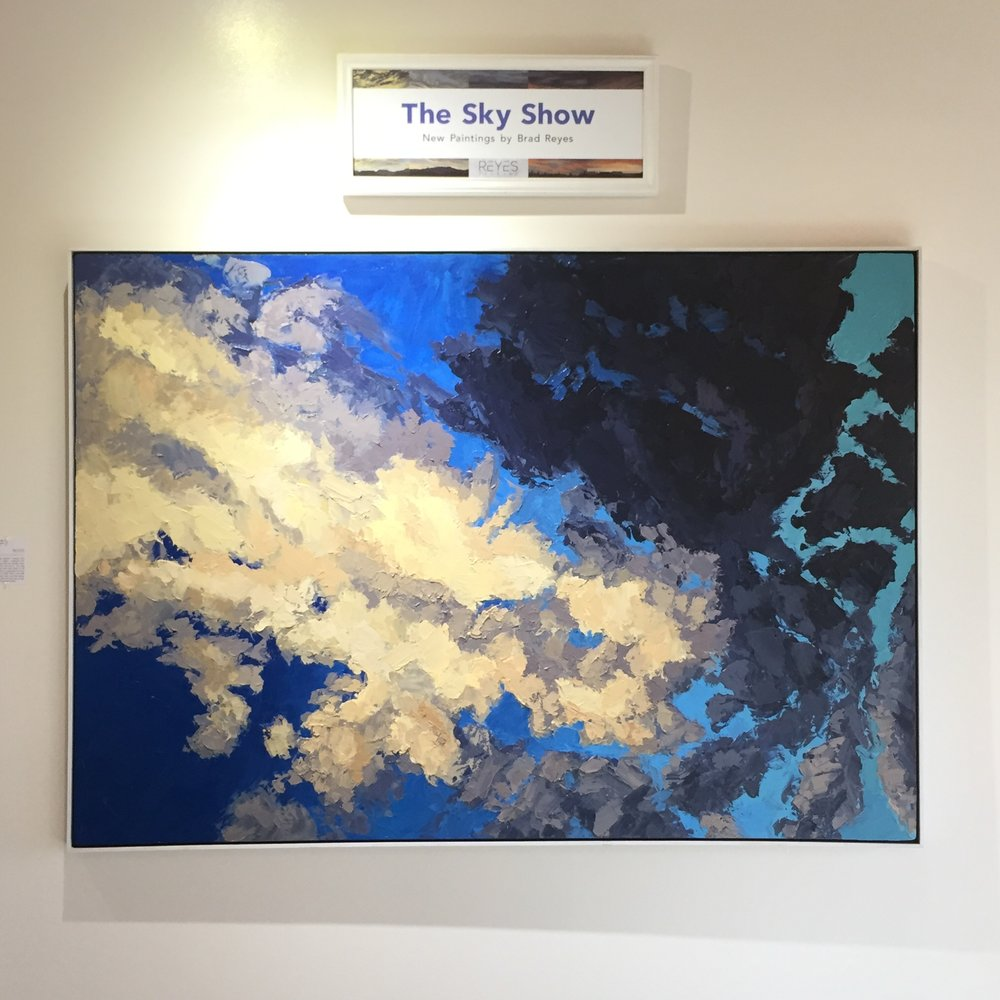 """Santa Fe Sky, No. 3"", my largest oil painting to date, greets you at the door!"