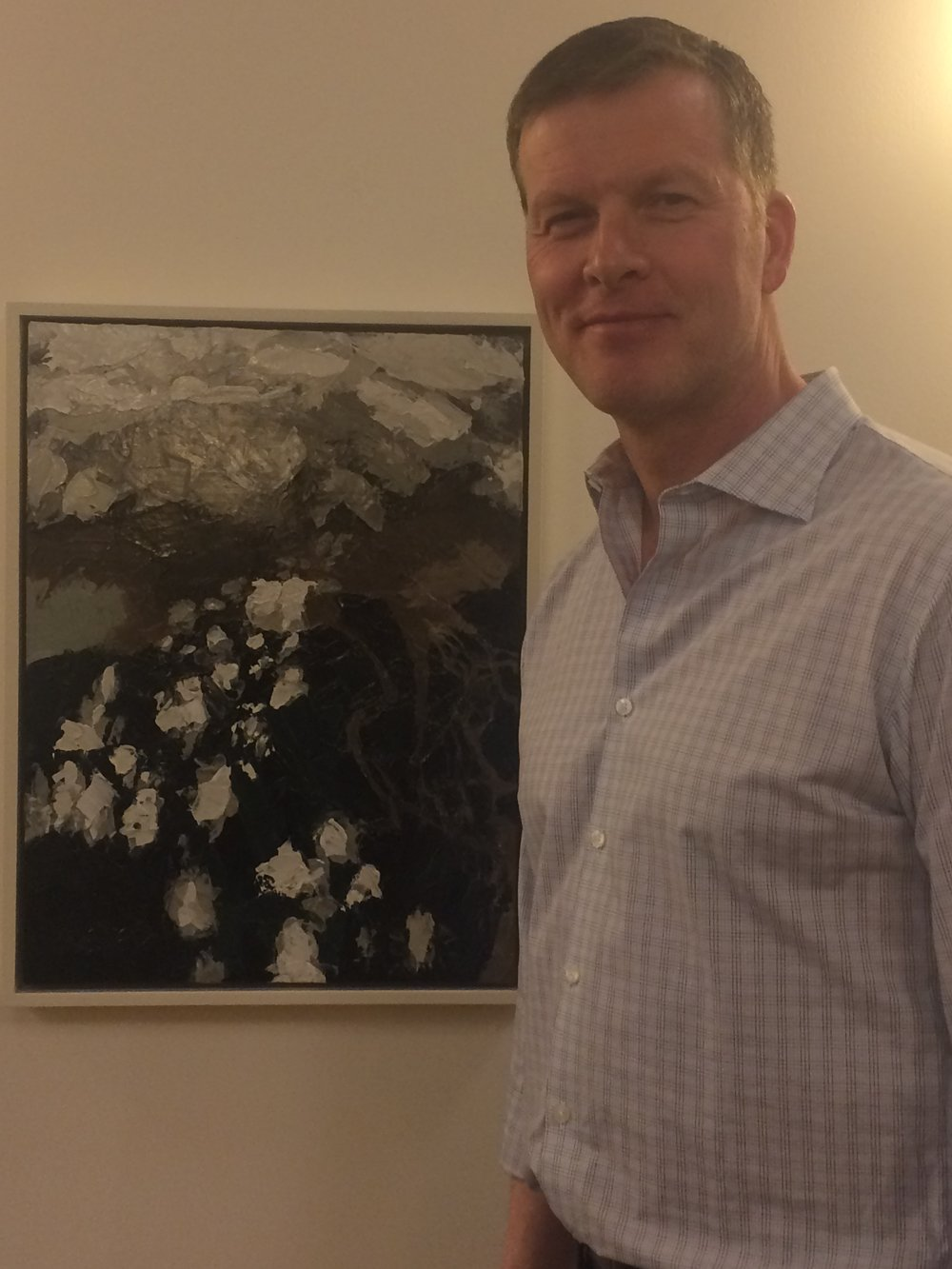 "Yours truly with ""Above The Clouds IV"", inspired by the view of clouds over the Gulf of Mexico en route to Miami, FL."