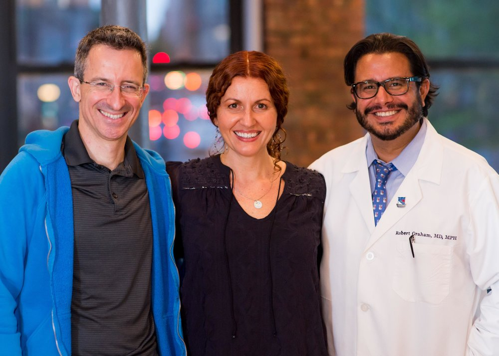 "Tal Ben-Shahar with Julie Graham and Dr. Robert Graham at FRESH Med NYC workshop ""Happiness as Medicine"" on May 4, 2017. Find Tal Ben-Shahar on Facebook and LinkedIn."