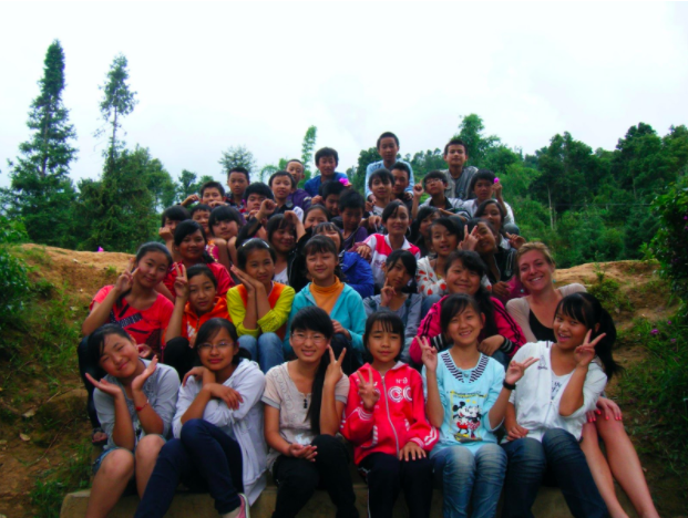 Laura and her first 7th grade class in Yunnan Province, China