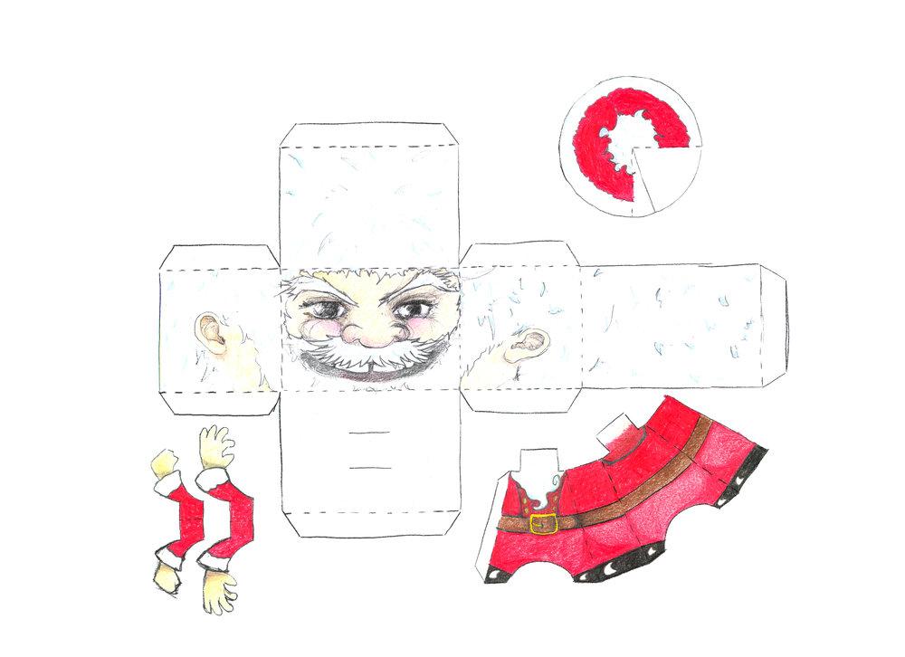 Ein Bastelsamichlaus erinnert an die Bastelbögen von früher. Eine solche Weihnachtskarte bringt zusätzliche Bastelfreude. Made by Zoe Bührer, partners in graphics.