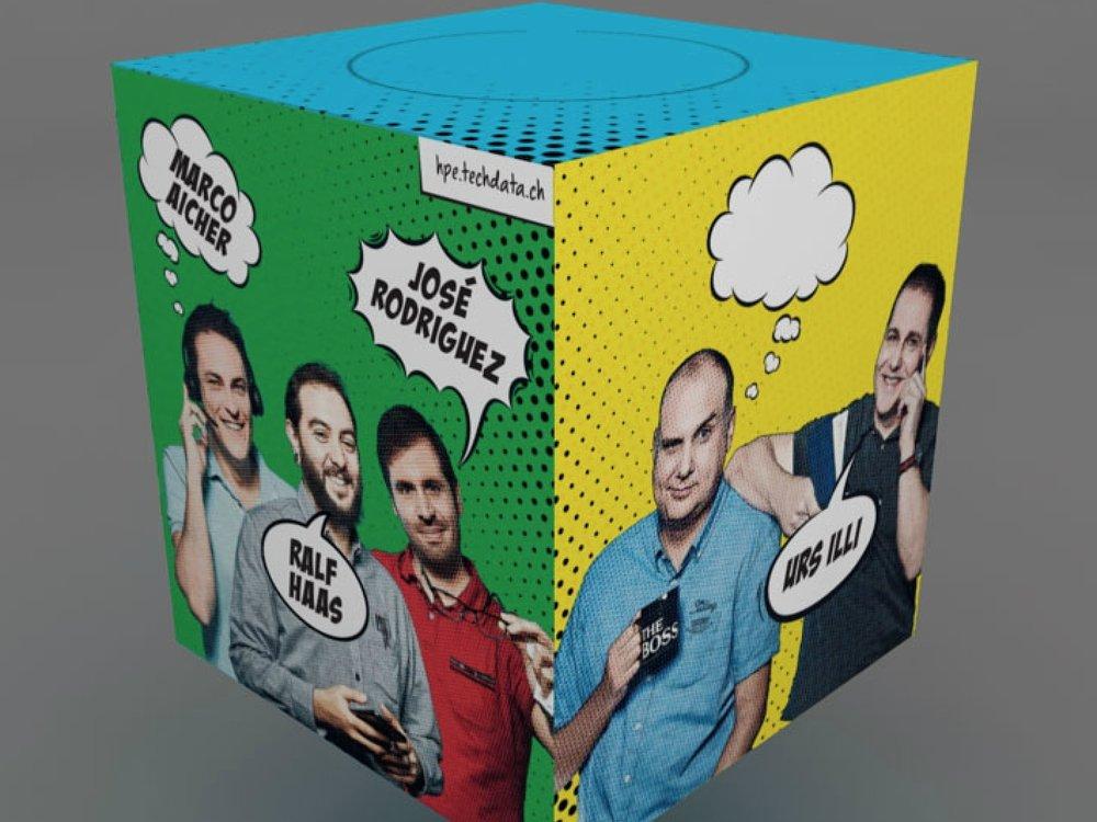 Tech Data TIssue box - Mitarbeiterfotos, Comic-Gestaltung