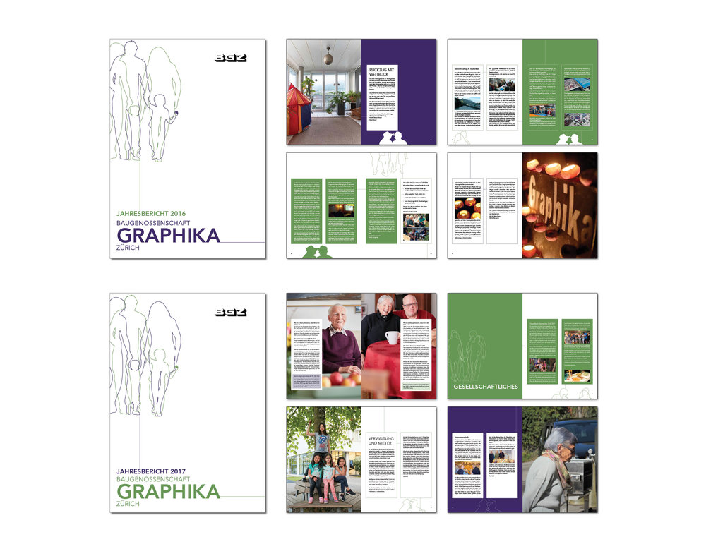 Gestaltung Jahresberichte I Baugenossenschaft Graphika