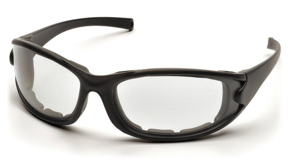 pyramex pmxcel sb7310dt safety glasses clear antifog lens with matte black framestrap