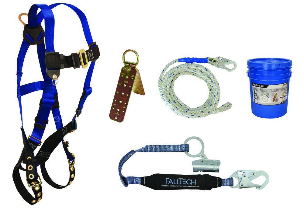 FallTech+8595A falltech 8595a roofers bucket kit unifit harness, 3' shock