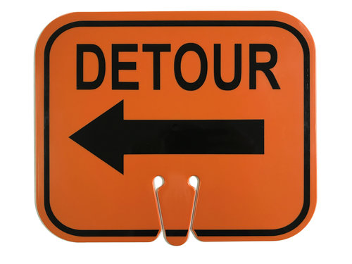 Three D Traffic Works Clip Sign For Cones Detour With Left Arrow