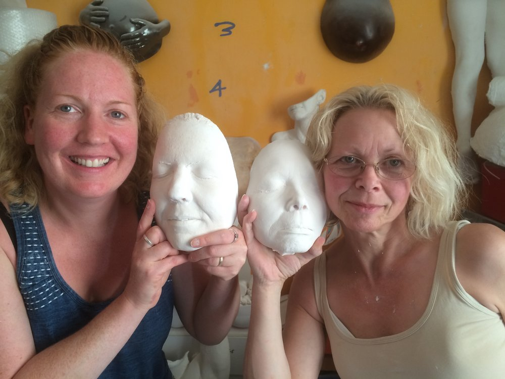 Face casting workshop with students Laura Brunsdon of Laura's Treasure Prints and Francis Mortin of My Tiny Prints.