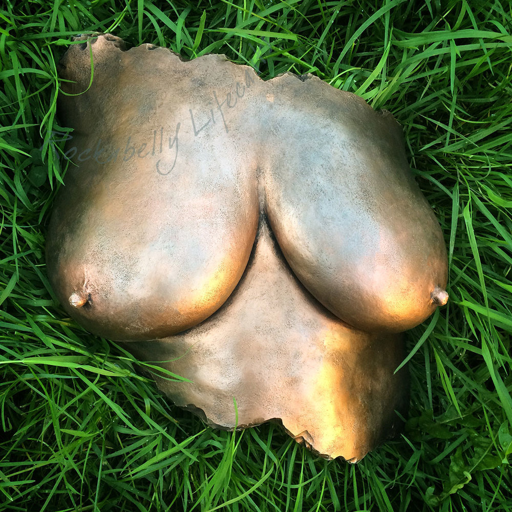 Rockabelly - mastectomy breast cast painted bronze