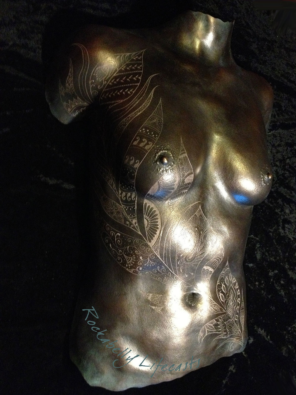 Rockabelly - cold cast bronze breast cast