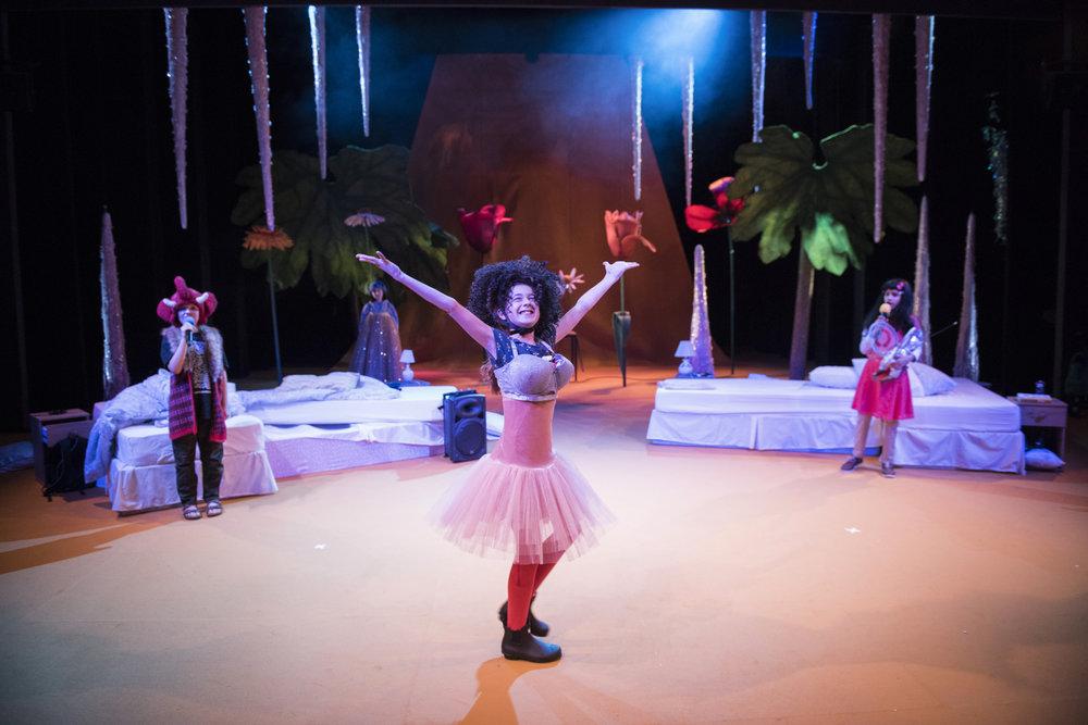 Archie MacGregor as Bart, Emilija Trajkovic as Lucy, Milan Verma as Nigel in Beginners at Unicorn Theatre. Photo credit Hugo GlendinningJPG