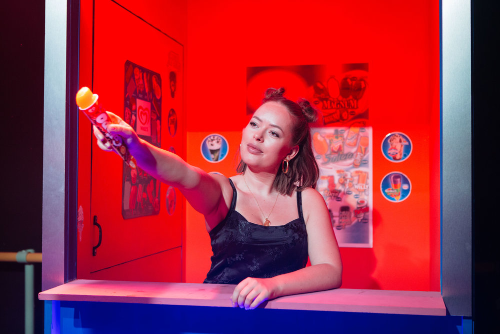 Confidence at Southwark Playhouse. Tanya Burr (Ella) photo credit Helen Murray.jpg